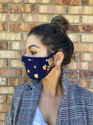 Navy floral face mask washable & reusable double layer mask comfortable made in USA