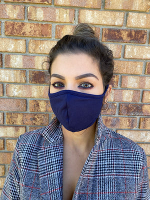 Navy face mask washable & reusable double layer mask comfortable made in USA