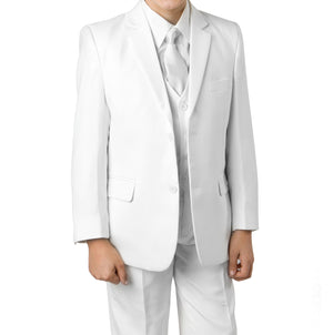 Tazio White Formal Classic Fit Suits For Boys