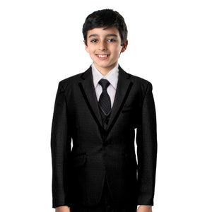 3-Piece Boy's Satin Trim Suit Set With Free Matching Shirt & Tie Suits For Boy's