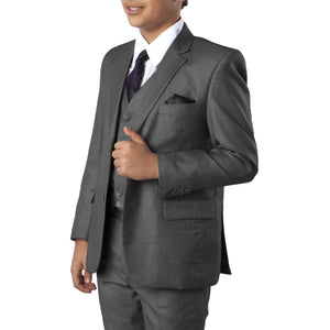 5-PIece Windowpane Suit With Matching Shirt & Tie Suits For Boy's