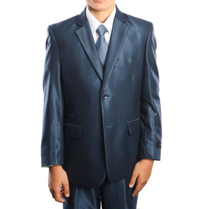 3-PC Boy's Solid Sharkskin Suit with Dress Shirt & Tie Suits For Boy's