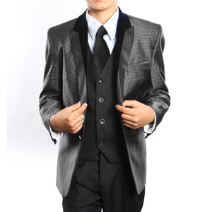 Micro Dot Pattern Suit With Shirt & Tie Suits For Boy's