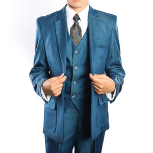 6-PC Solid Boys Suit with Shirt & Tie Suits For Boy's
