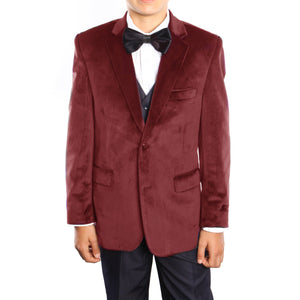 3-Piece Velvet Jacket Set With Shirt & Bow Tie Suits For Boy's