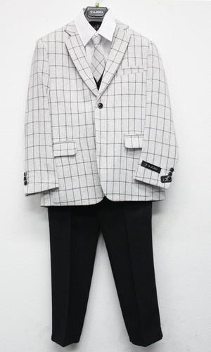 Tazio Grey / Black Windowpane Formal Suits For Boys