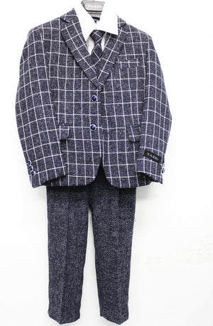 Tazio Navy / White Windowpane Formal Suits For Boys