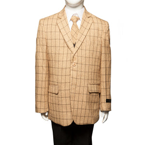 Tazio Gold / Black Windowpane Formal Suits For Boys