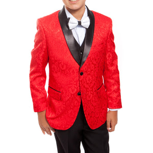 Tazio Red / Black Formal Suits For Boys