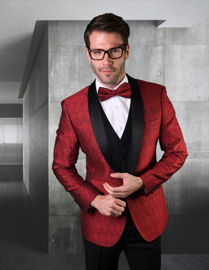Maksmenswear fancy red/black jacket with matching bow tie and solid black vest + pants