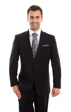 Black Solid 2-PC Regular Modern Fit Suits For Men