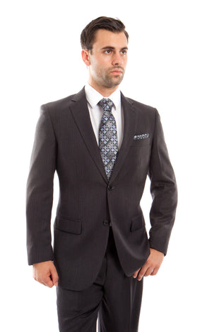Gray Solid 2-PC Regular Modern Fit Suits For Men