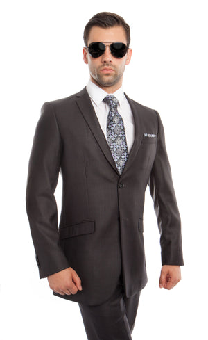 Grey 2-PC Slim Fit Performance Stretch Suits For Men