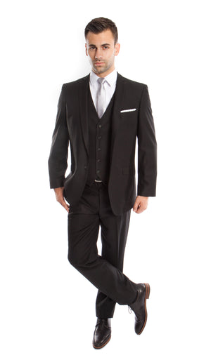 Black Solid 3-PC Slim Fit Stretch Suits For Men