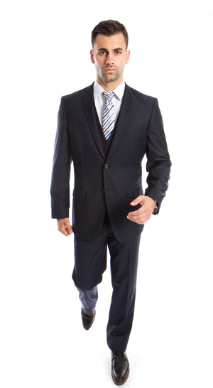 Navy Solid 3-PC Slim Fit Stretch Suits For Men