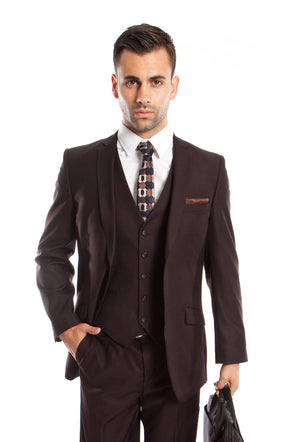 Lt. Gray Solid 3-PC Slim Fit Stretch Suits For Men