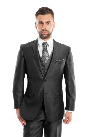 Black Textured Pattern 3-PC Slim Fit Performance Stretch Suits For Men