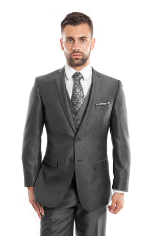 D. Gray Textured Pattern 3-PC Slim Fit Performance Stretch Suits For Men
