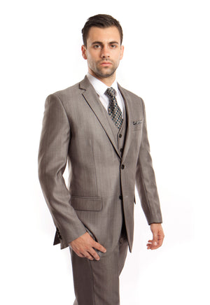Gray Solid Shiny Sharkskin 3-PC Regular Modern Fit Suits For Men
