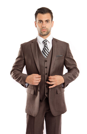 Brown Solid Shiny Sharkskin 3-PC Regular Modern Fit Suits For Men