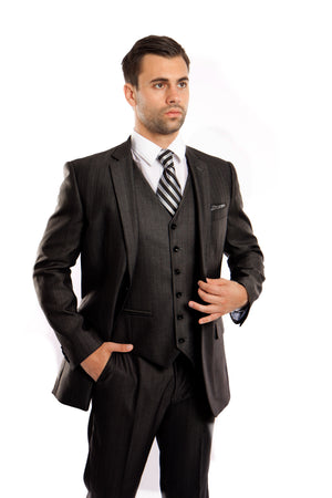 Steel Navy Solid Shiny Sharkskin 3-PC Regular Modern Fit Suits For Men