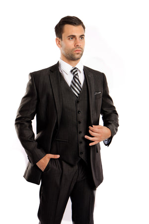 Black Solid Shiny Sharkskin 3-PC Regular Modern Fit Suits For Men