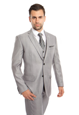 Lt. Gray Solid Shiny Sharkskin 3-PC Regular Modern Fit Suits For Men