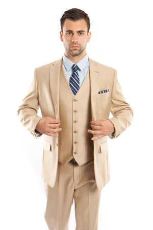 Lt. Beige Solid Shiny Sharkskin 3-PC Regular Modern Fit Suits For Men
