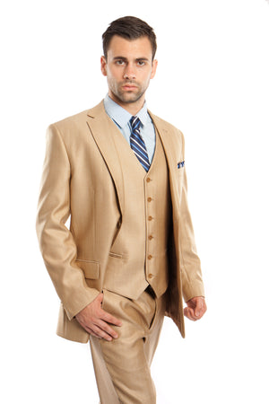 Wheat Solid Shiny Sharkskin 3-PC Regular Modern Fit Suits For Men