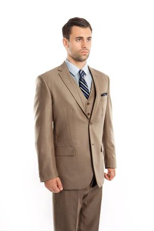 Dk Tan Solid Shiny Sharkskin 3-PC Regular Modern Fit Suits For Men
