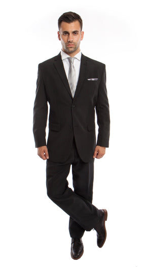 Black / Gray Solid 2-PC Regular Modern Fit Suits For Men