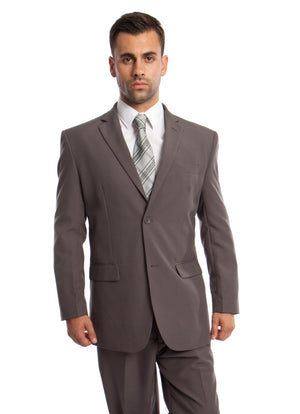 Grey / Lt. Grey Solid 2-PC Regular Modern Fit Suits For Men