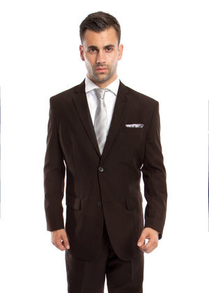 Brown / Lt. Brown Solid 2-PC Regular Modern Fit Suits For Men
