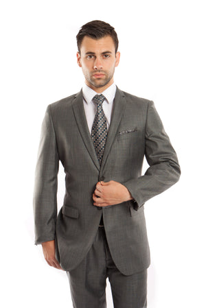Green Slate Solid 2-PC Slim Fit Performance Stretch Suits For Men