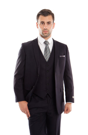 Black 3-PC Slim Fit Stretch Suits For Men