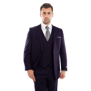 Navy 3-PC Slim Fit Stretch Suits For Men