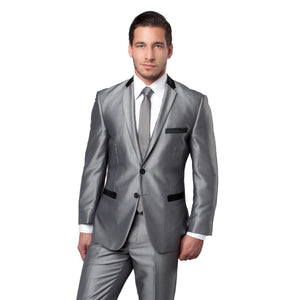 Black Tone on Tone Shiny 2-PC Slim Fit Suits For Men