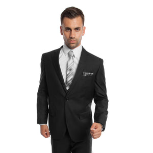 Black Solid Mens Suit 2-PC Regular Modern Fit Suits For Men