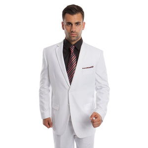 White Solid Mens Suit 2-PC Regular Modern Fit Suits For Men