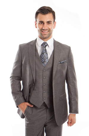 Gray 3-PC Slim Fit Stretch Suits For Men