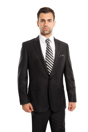 Black Solid 2-PC Slim Fit Performance Stretch Suits For Men