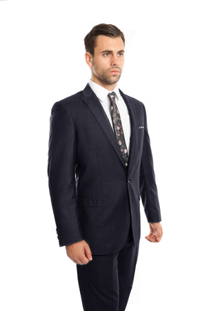 Navy Solid 2-PC Slim Fit Performance Stretch Suits For Men