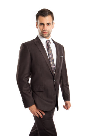 Dk. Gray Solid 2-PC Slim Fit Performance Stretch Suits For Men