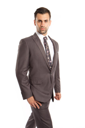 Gray Solid 2-PC Slim Fit Performance Stretch Suits For Men