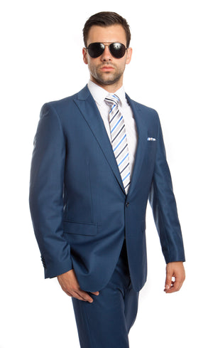 Blue Solid 2-PC Slim Fit Performance Stretch Suits For Men