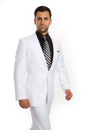 White Solid 2-PC Slim Fit Performance Stretch Suits For Men