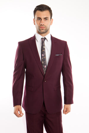 Burgundy Solid 2-PC Slim Fit Performance Stretch Suits For Men