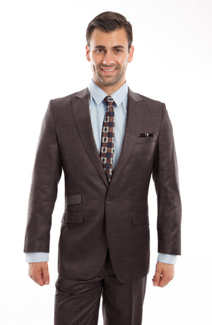 Brown 2-PC Slim Fit Performance Stretch Suits For Men