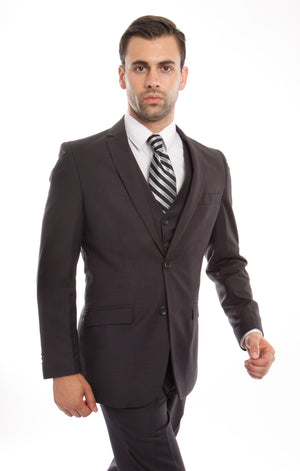 Gray Pinstripe Tone on Tone 3-PC Slim Fit Stretch Suits For Men