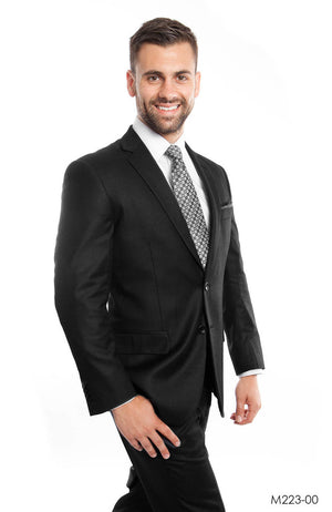 Black Solid 2-PC Modern Fit Suits For Men